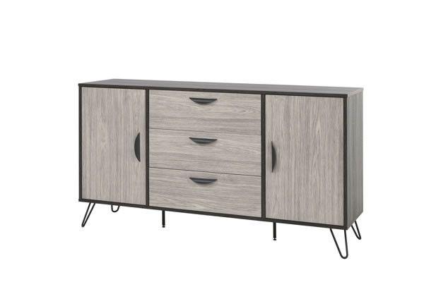 buffets design bahut style industriel cendres et ch ne gris viseo 180 cm trocity. Black Bedroom Furniture Sets. Home Design Ideas