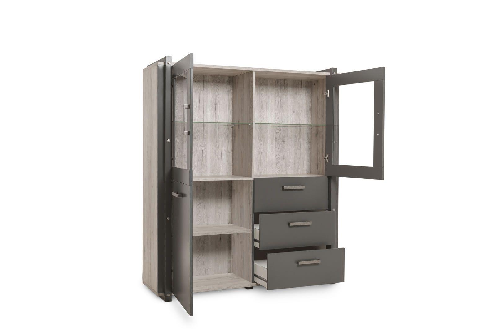 vaisselier vaisselier bas 3 portes 3 tiroirs grisli style industriel trocity. Black Bedroom Furniture Sets. Home Design Ideas