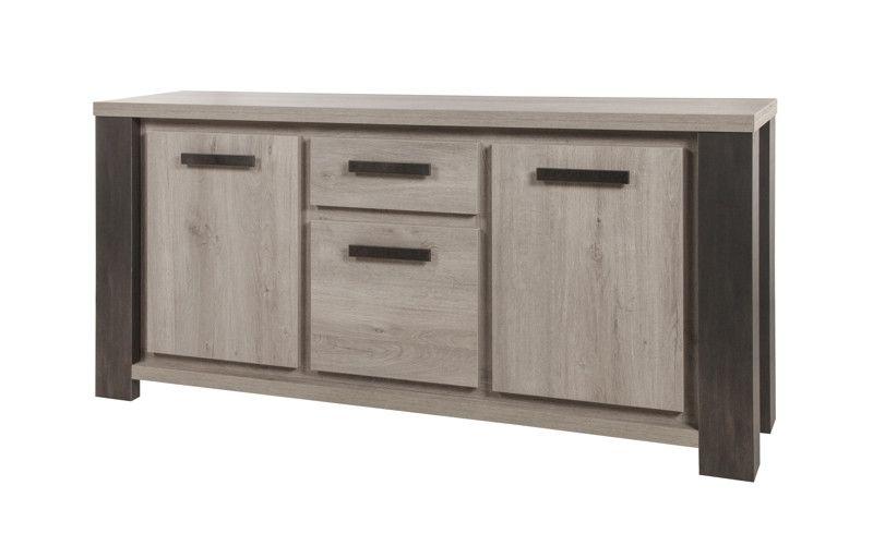 buffet moderne 3 portes 1 tiroir ch ne gris lionel 195 cm. Black Bedroom Furniture Sets. Home Design Ideas