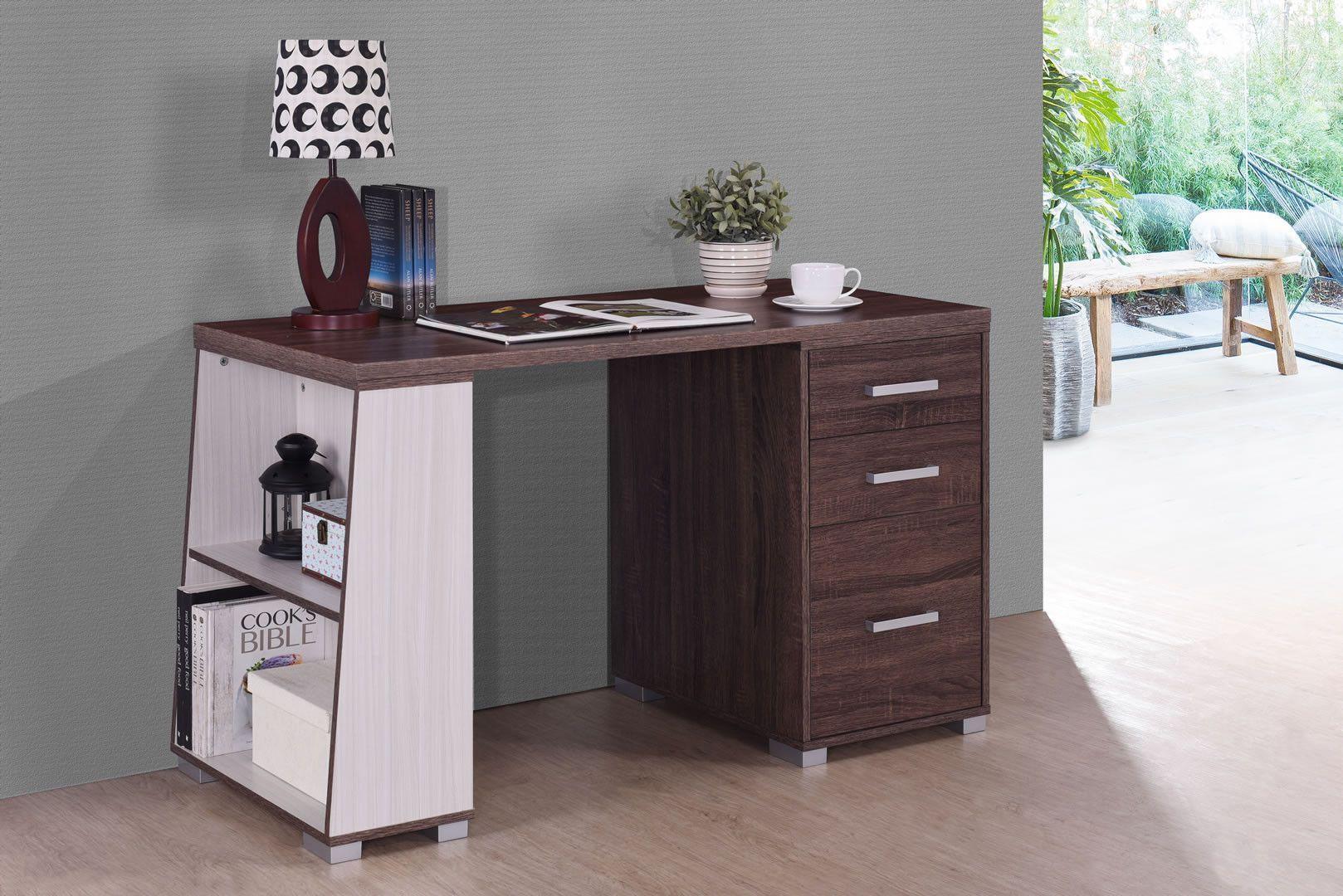 Bureaux bureau tiroirs étagère noyer et blanc touquet trocity