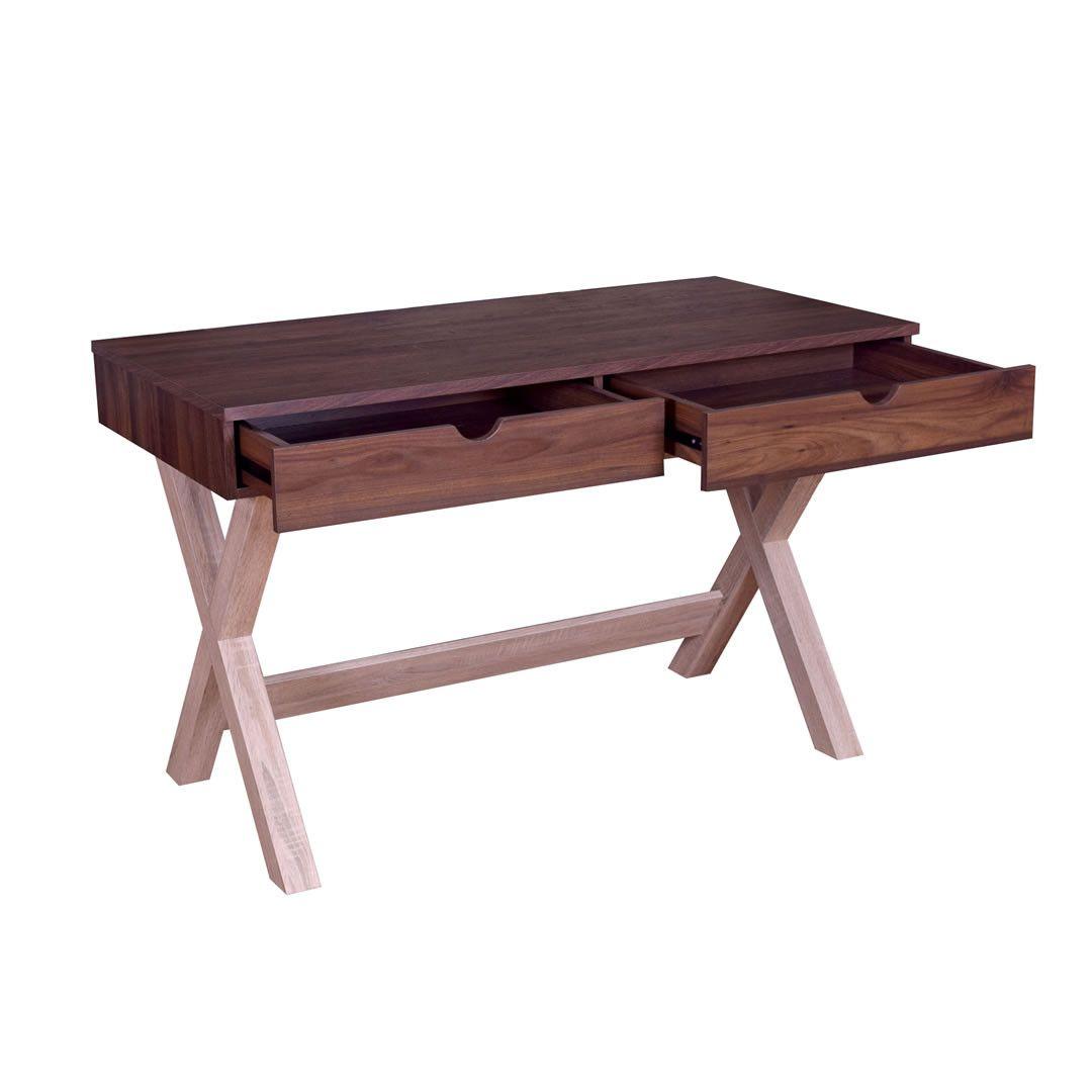 bureau bois fonc et bois clair 2 tiroirs arlon. Black Bedroom Furniture Sets. Home Design Ideas