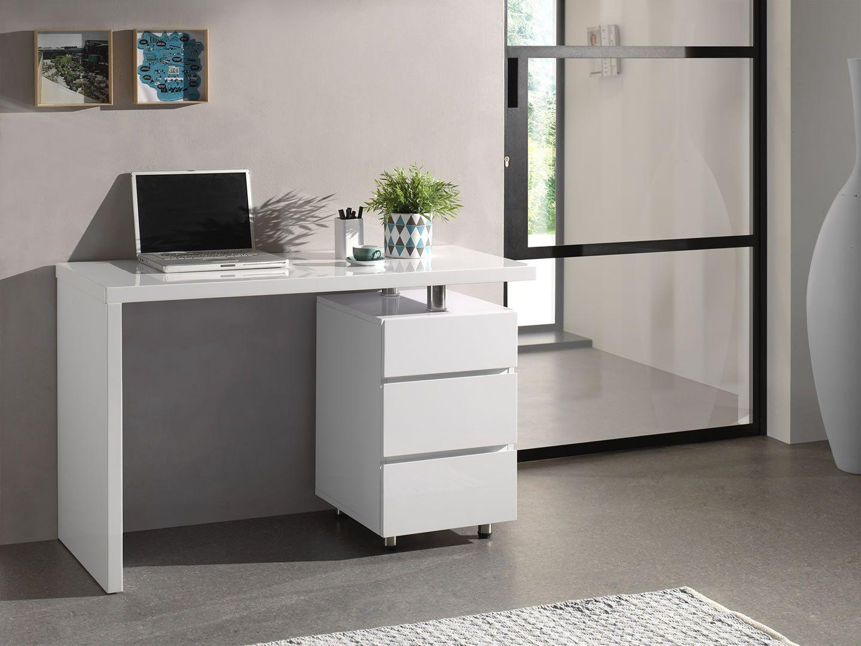 Bureaux bureau contemporain 3 tiroirs elise blanc laqué trocity