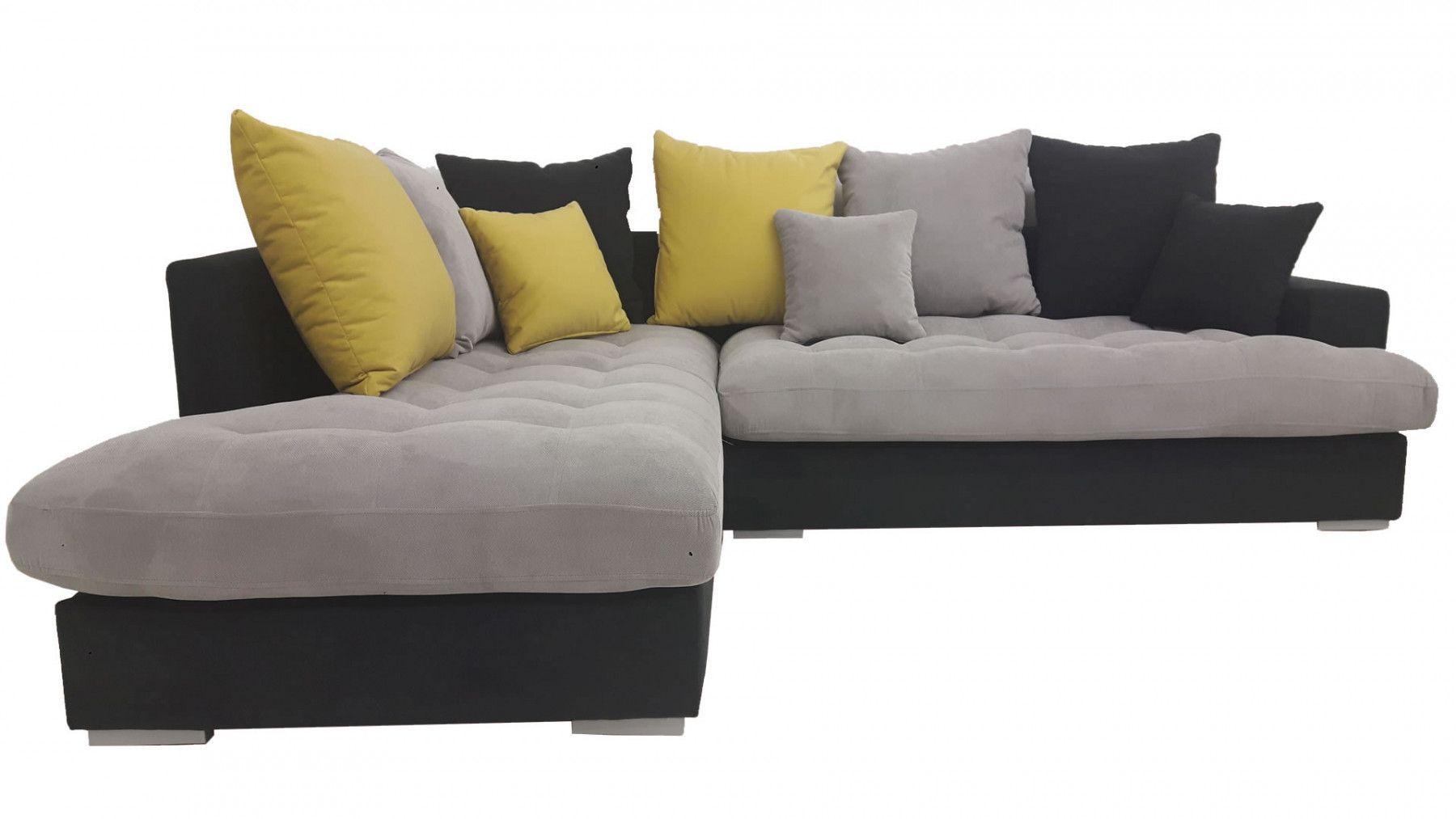 canap d 39 angle gauche minda gris et jaune. Black Bedroom Furniture Sets. Home Design Ideas