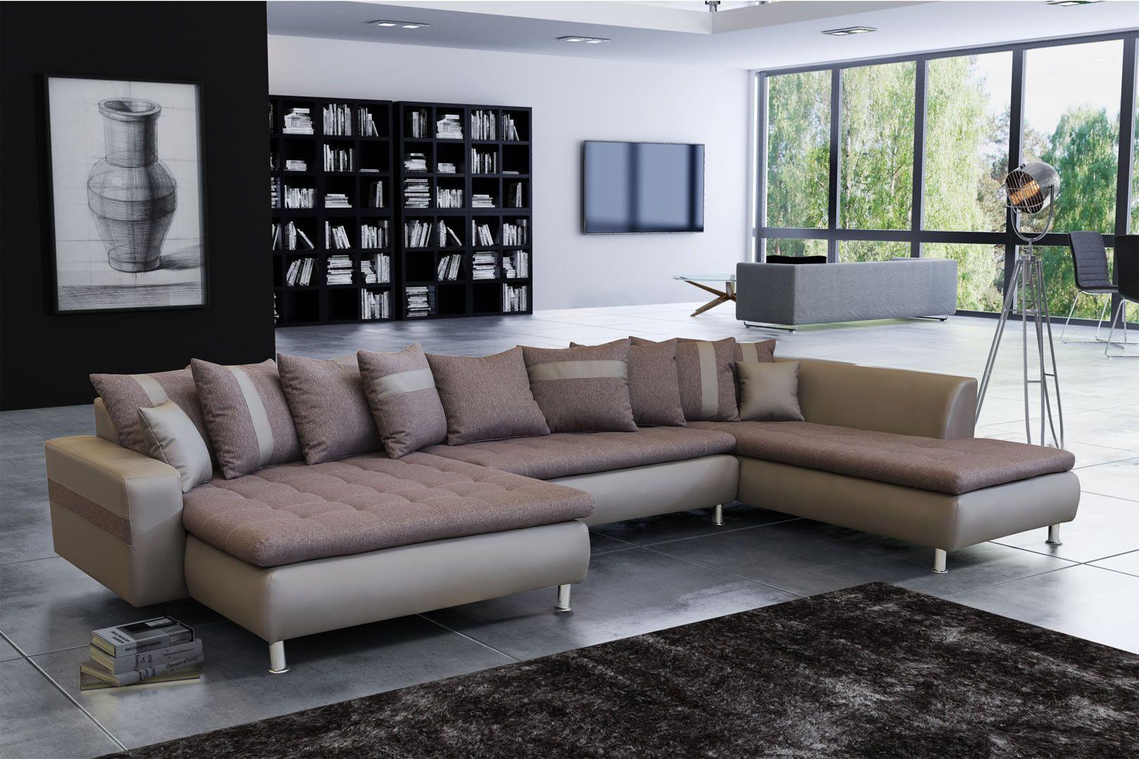 Salon & séjour - Canapé panoramique méridienne xxl marron et taupe ...