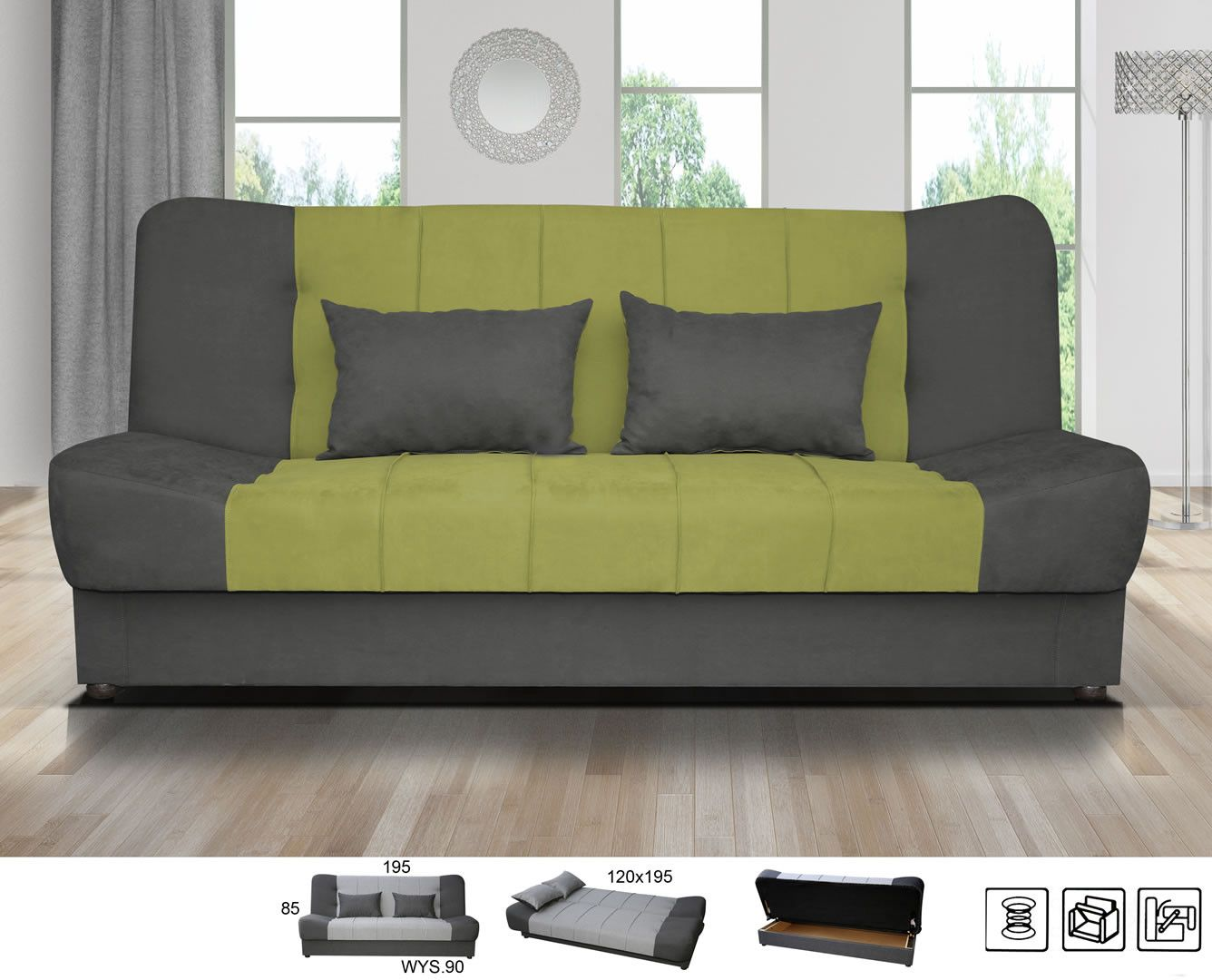 canap design pas cher canap clic clac olathe gris et vert trocity. Black Bedroom Furniture Sets. Home Design Ideas