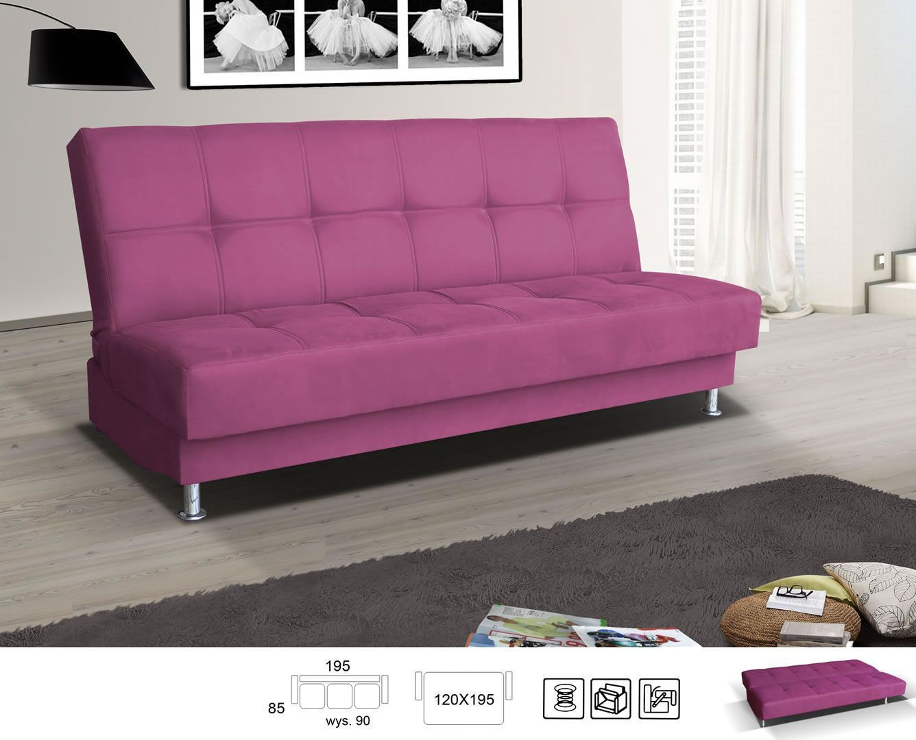 canap clic clac ponca rose clic clac et bz canap s sofas salon s jour. Black Bedroom Furniture Sets. Home Design Ideas