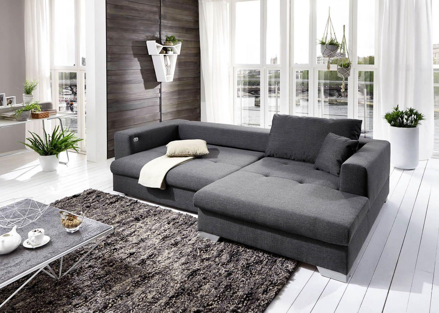canap s convertibles canap d 39 angle droit convertible hennepin gris trocity. Black Bedroom Furniture Sets. Home Design Ideas