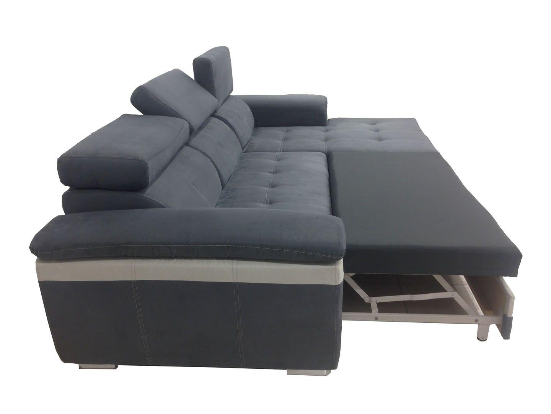 canap d 39 angle droit convertible lit albion zebra gris et. Black Bedroom Furniture Sets. Home Design Ideas