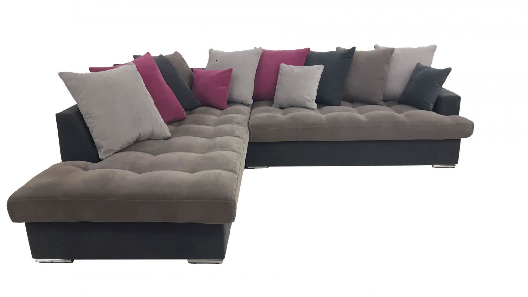 canap d 39 angle gauche linda gris et fushia. Black Bedroom Furniture Sets. Home Design Ideas