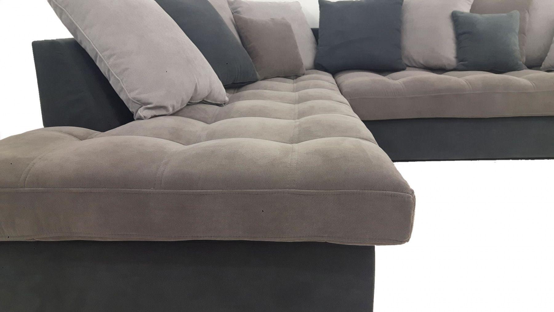 Salon Gris Clair Et Gris Fonce : Canapé d angle gauche linda gris clair et foncé