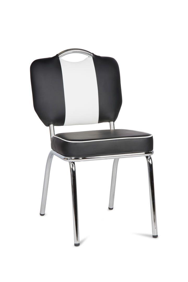 chaise de bistrot retro noir et blanc. Black Bedroom Furniture Sets. Home Design Ideas