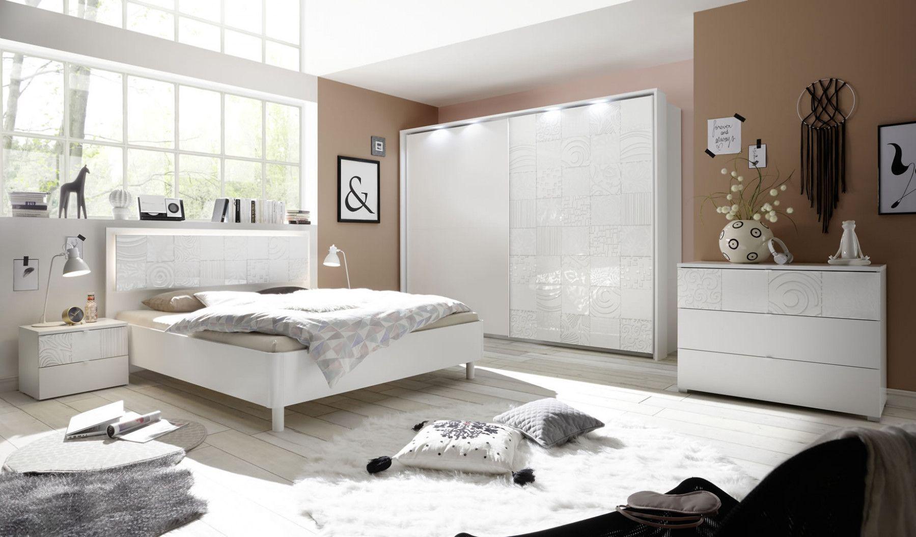 Chambre Adultes Complète Design Avec Sérigraphies Blanc Parme - Chambre adulte parme