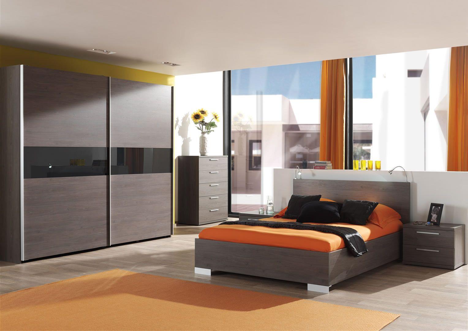 Made in Belgium Chambre complète adulte éclairage lit armoire 250 cm portes  coulissantes Lasta 180 cm