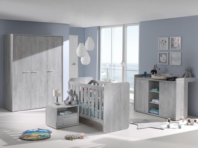 Made in Belgium Chambre complète bébé évolutive chêne grisé Civa
