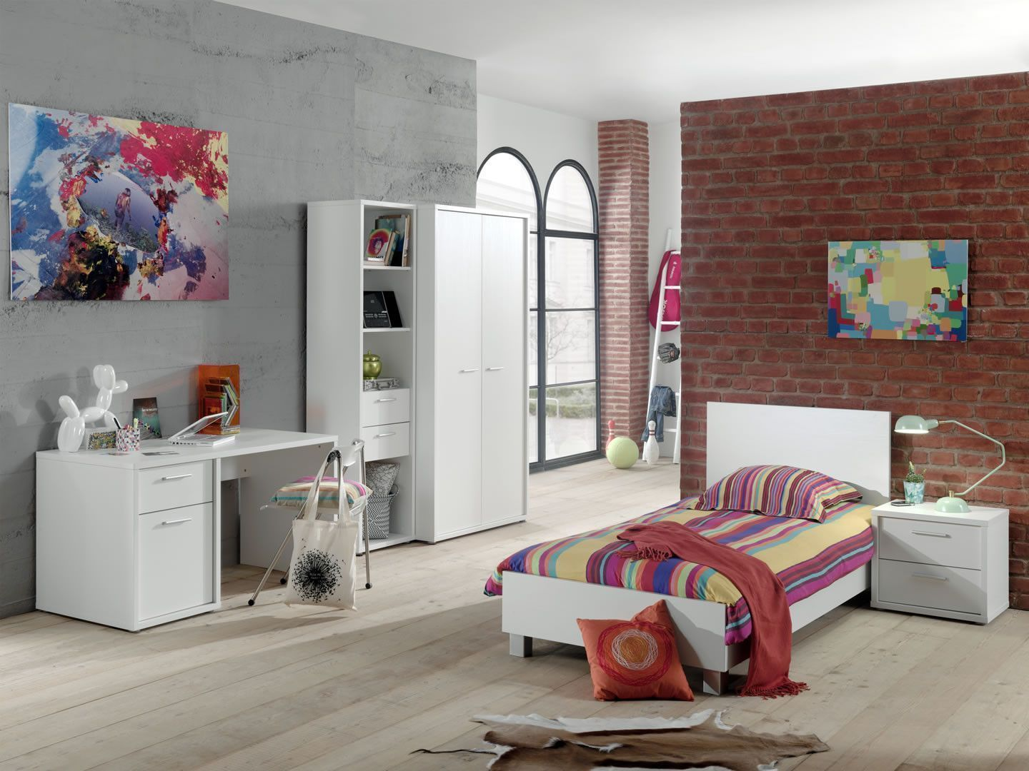 Made in Belgium Chambre complète enfant moderne blanc Elfe