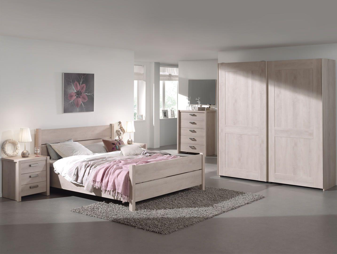 Chambre A Coucher Adulte made in belgium chambre à coucher complète adulte portes coulissantes haly  chêne clair 140 cm