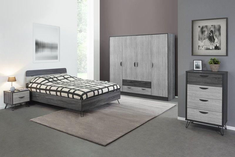 Chambre à Coucher Complète Pour Adulte Style Industriel July - Chambre adulte style industriel