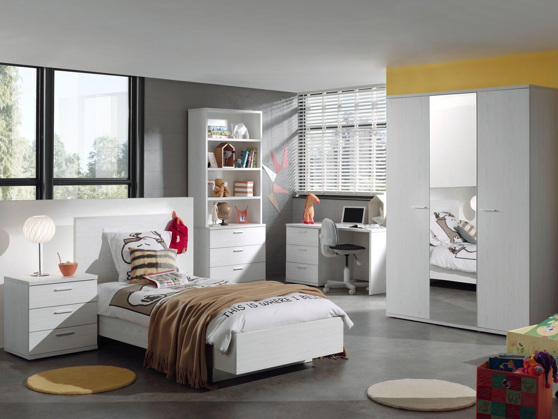 Chambres enfant compl te chambre enfant compl te avec bureau ch ne blanc helgy trocity - Chambre avec bureau ...