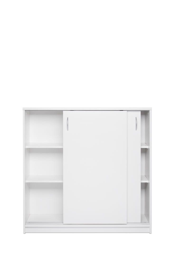 meubles de rangement commode portes coulissantes 109 cm irma blanc trocity. Black Bedroom Furniture Sets. Home Design Ideas