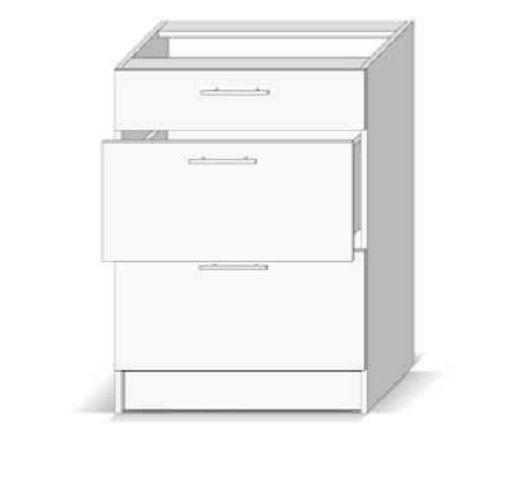 meubles de rangement meuble bas de cuisine casserolier 3 tiroirs 60 cm blanc dieppe trocity. Black Bedroom Furniture Sets. Home Design Ideas