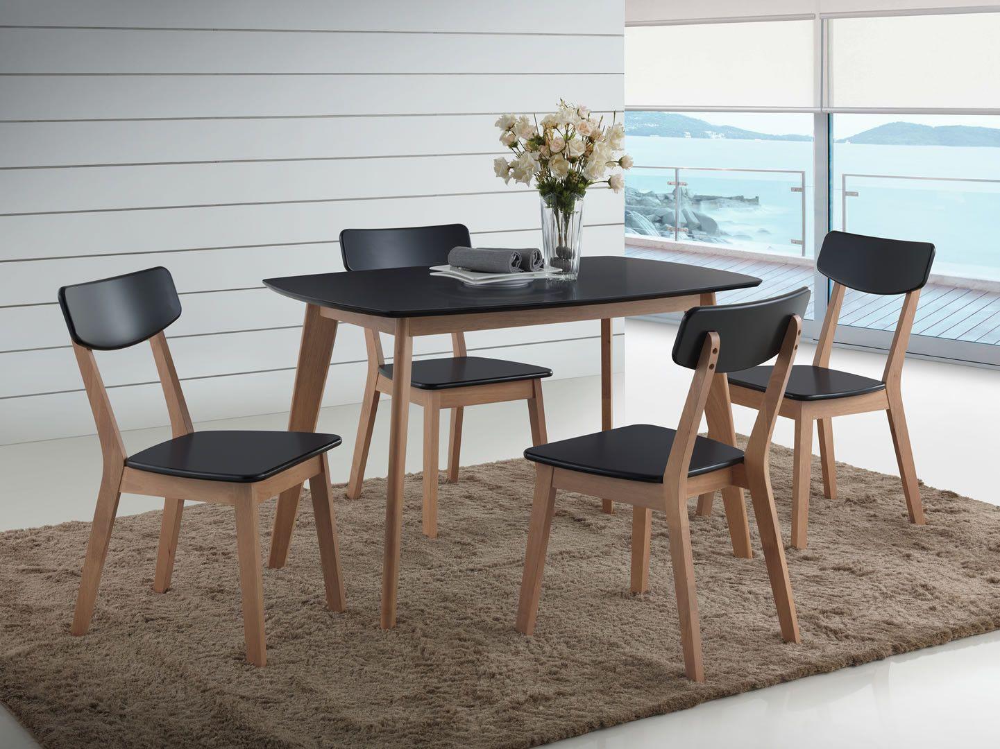 Ensemble Table Et 4 Chaises Bourges Noir