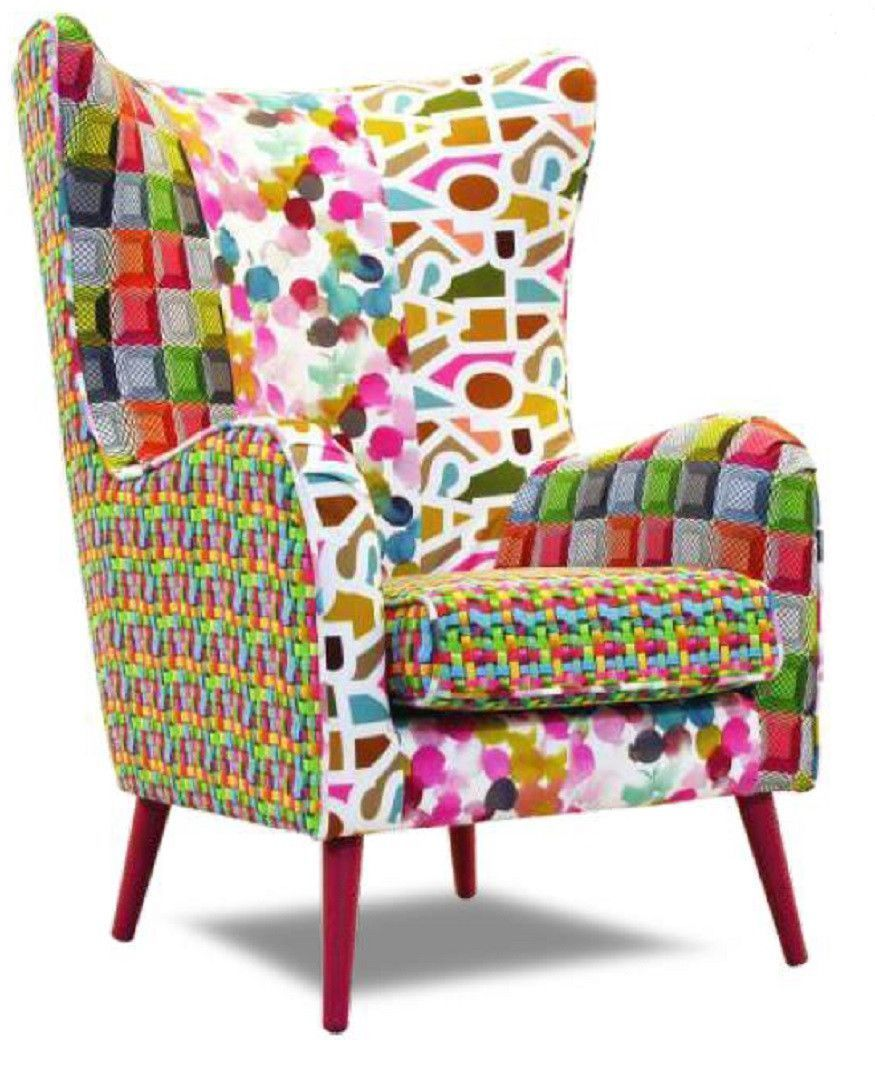 fauteuil patchwork tissu multicolore dickinson. Black Bedroom Furniture Sets. Home Design Ideas
