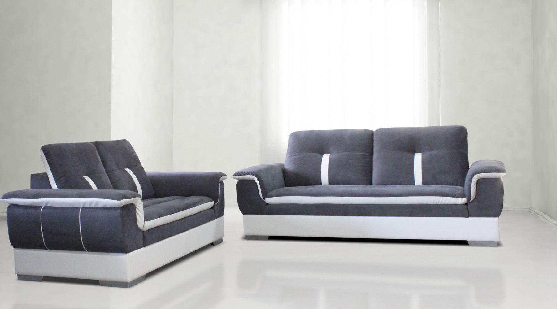 canap s fixes 2 places et plus canap 3 places fixe tissu microfibres et pu gris et blanc. Black Bedroom Furniture Sets. Home Design Ideas