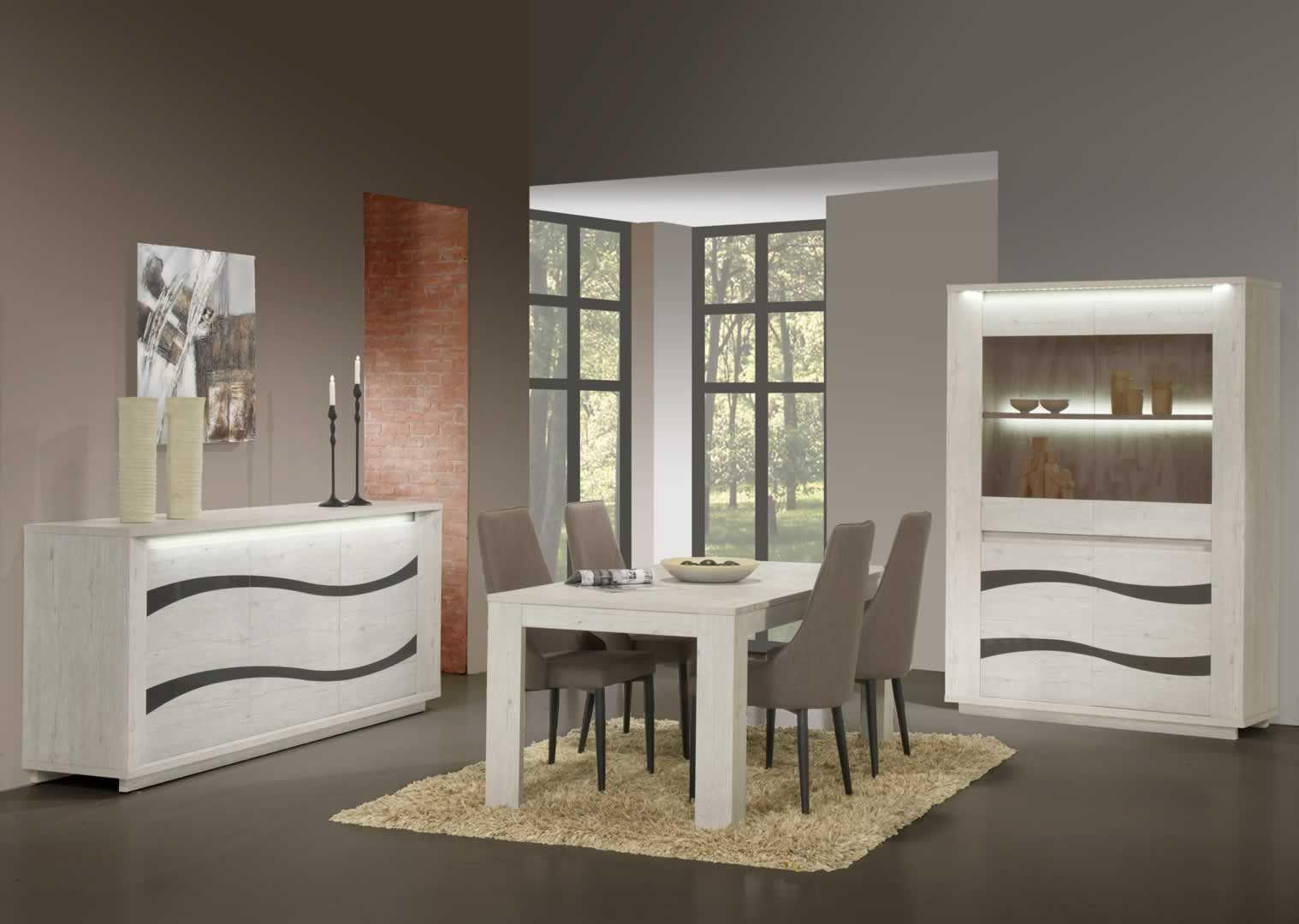 salle manger contemporaine salle manger clairage led buffet vitrine table 160 cm douai. Black Bedroom Furniture Sets. Home Design Ideas