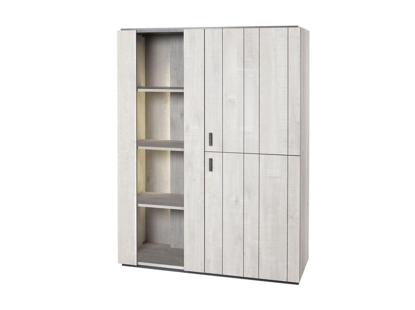 vaisselier argentier avec clairage kim ch ne blanchi. Black Bedroom Furniture Sets. Home Design Ideas