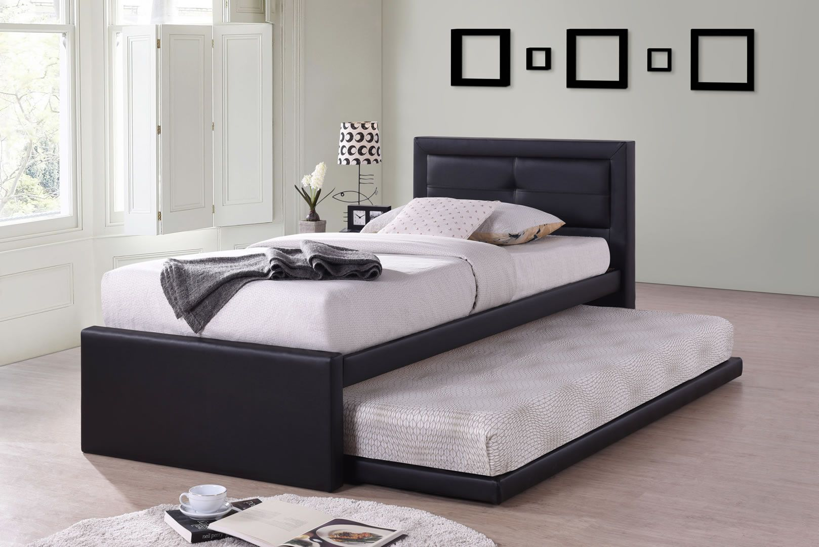 lits enfants lit 1 personne avec tiroir lit ruben noir. Black Bedroom Furniture Sets. Home Design Ideas