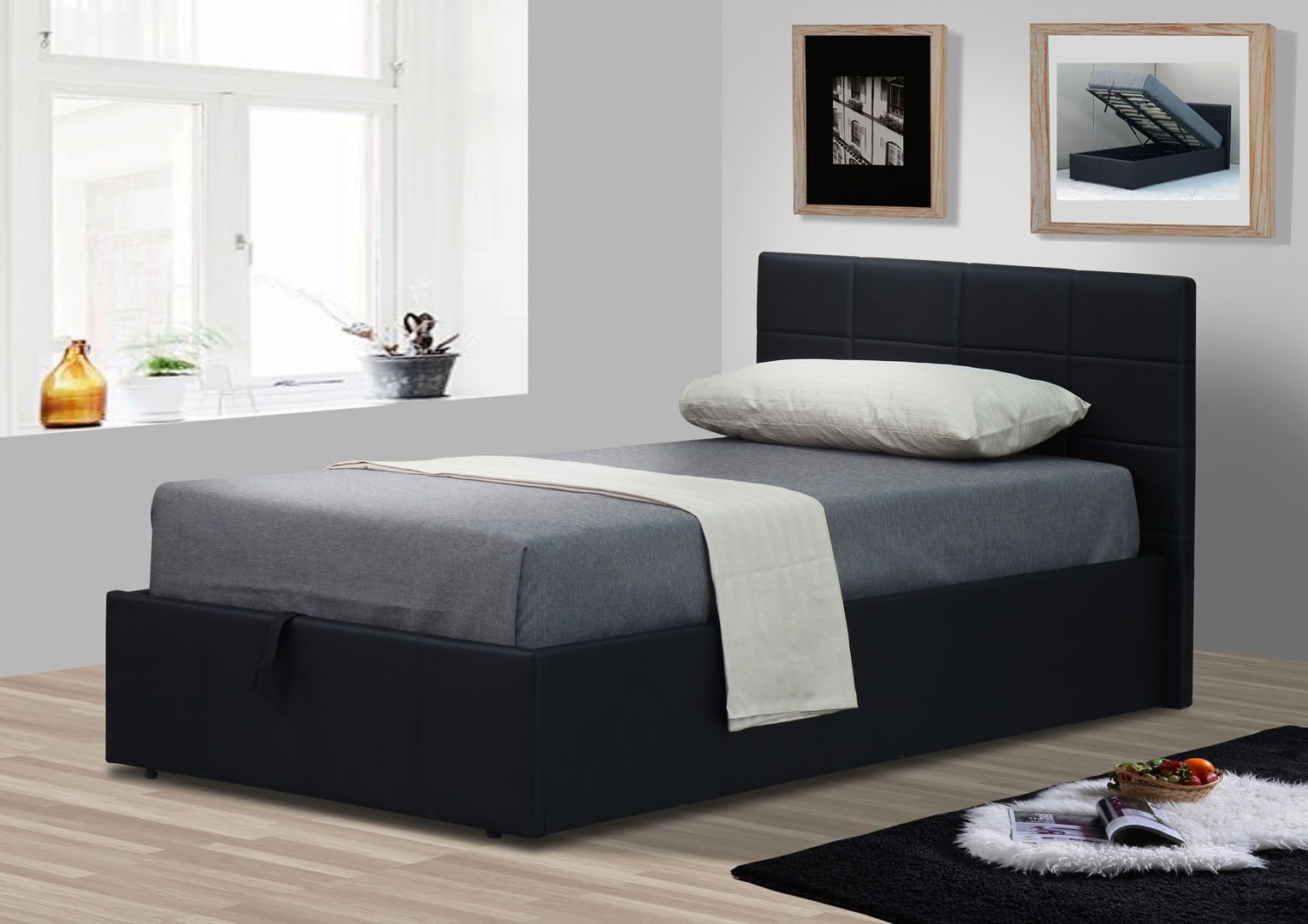 lits doubles lit double 140 cm avec sommier et coffre de rangement coco noir mat trocity. Black Bedroom Furniture Sets. Home Design Ideas