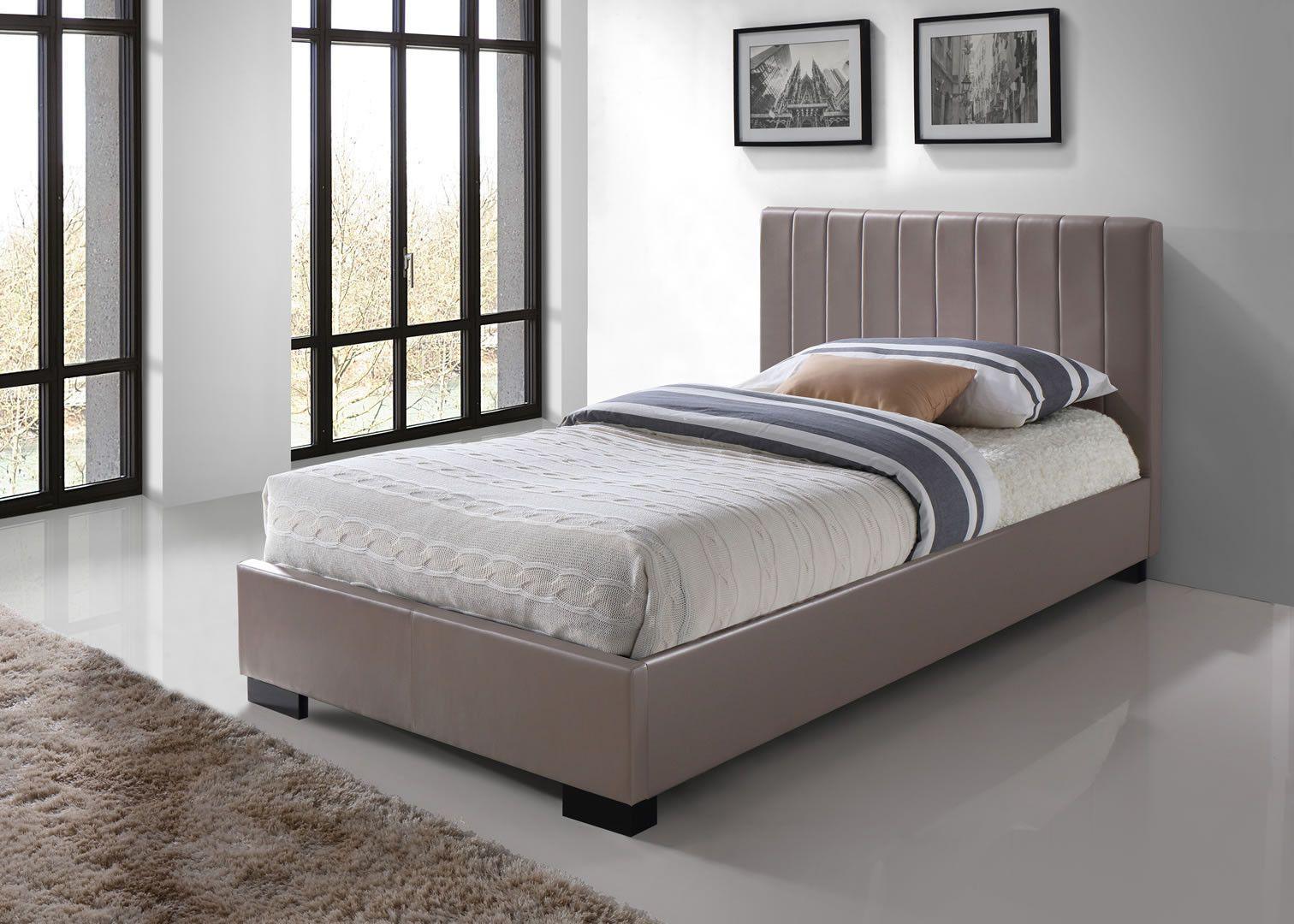 lits simples lit simple avec sommier et t te de lit pu taupe merced trocity. Black Bedroom Furniture Sets. Home Design Ideas