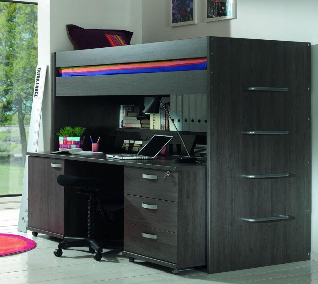 lits enfants ensemble lit mezzanine avec bureau et. Black Bedroom Furniture Sets. Home Design Ideas