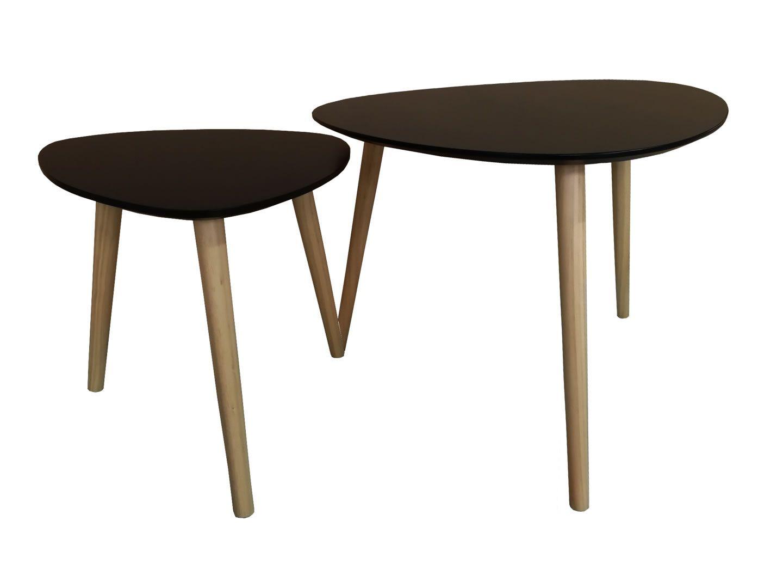 Tables Basses Gigognes Style Scandinave Rocher Noir Mat