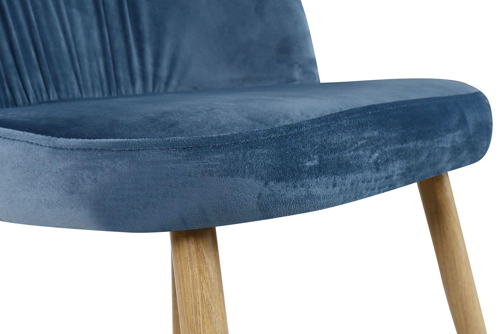 Velours De Scandinave Rétro Bleu Chaises Plissé Lot 4 Pieds Jody 7b6gyf