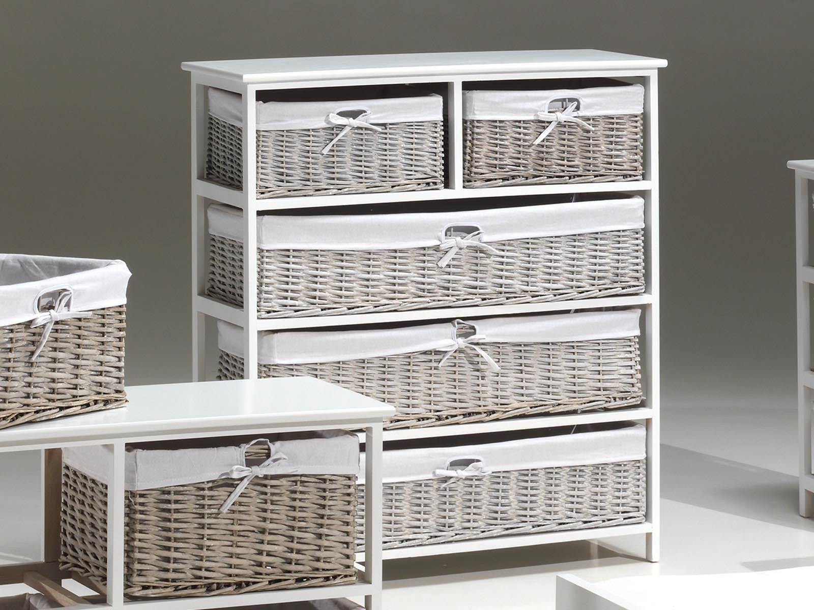 meuble blanc meuble d 39 appoint avec 5 paniers elda blanc trocity. Black Bedroom Furniture Sets. Home Design Ideas