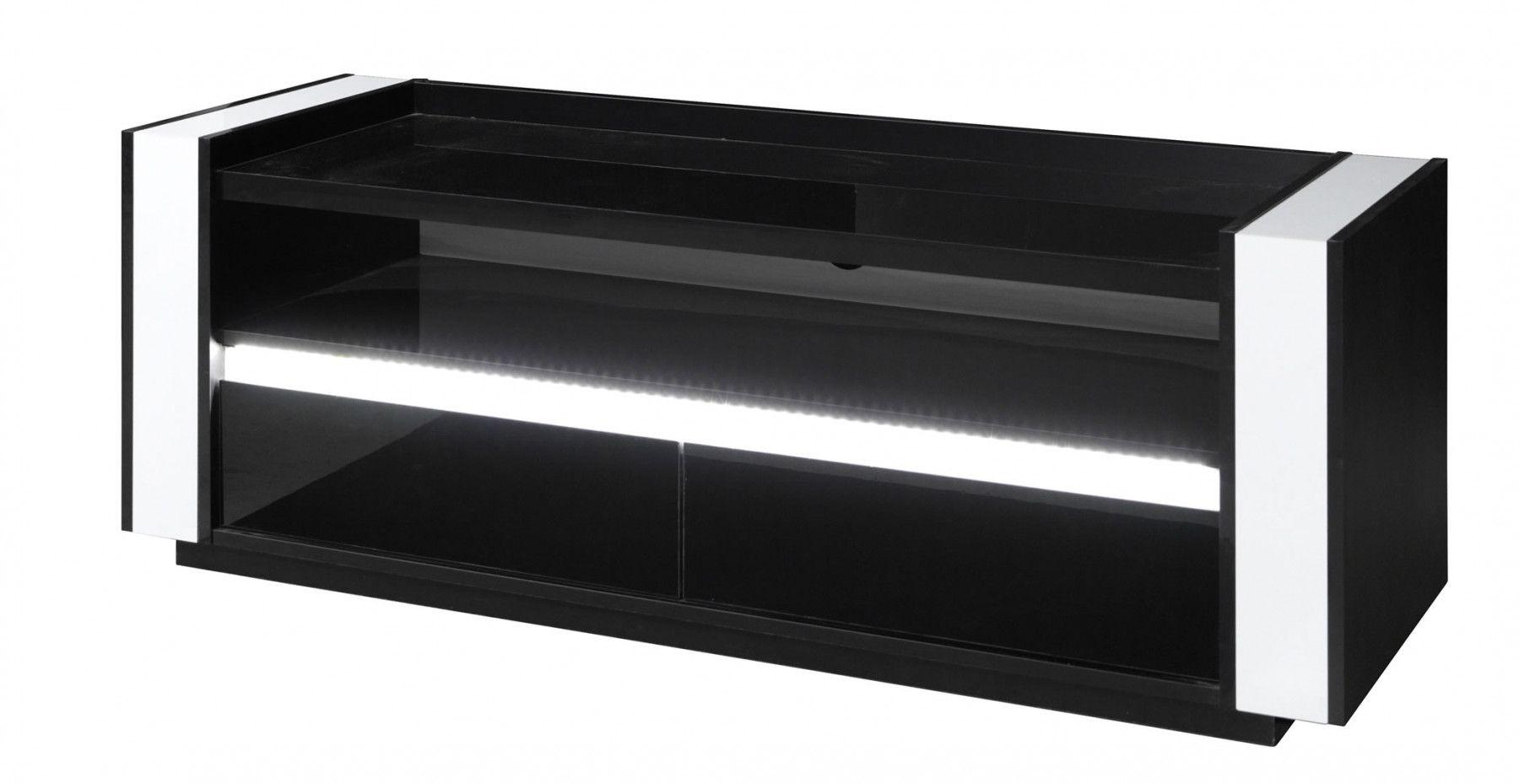 Meubles tv meuble tv aurora noir et blanc laqu avec clairage trocity - Meuble noir et blanc laque ...