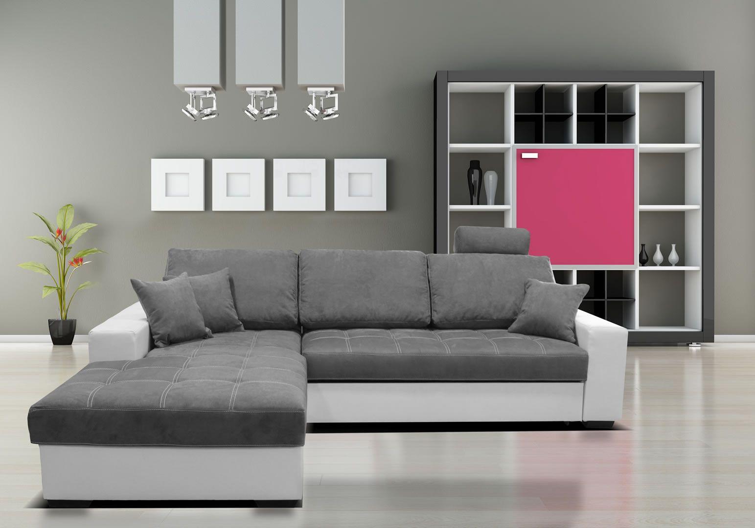 canap d 39 angle gauche convertible lit mondo gris et blanc. Black Bedroom Furniture Sets. Home Design Ideas