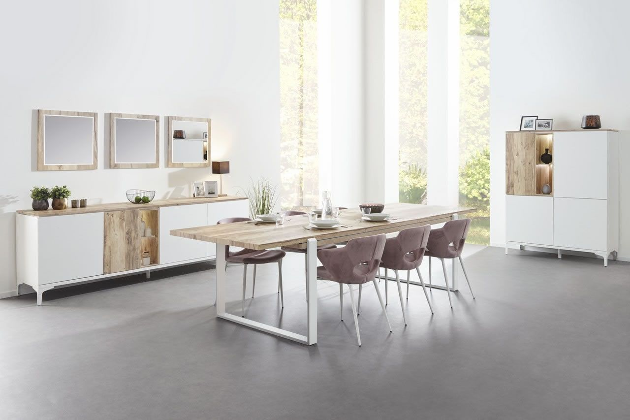 Made In Belgium Salle A Manger Complete Table 160 A Rallonge Bois Naturel Et Blanc Vorane