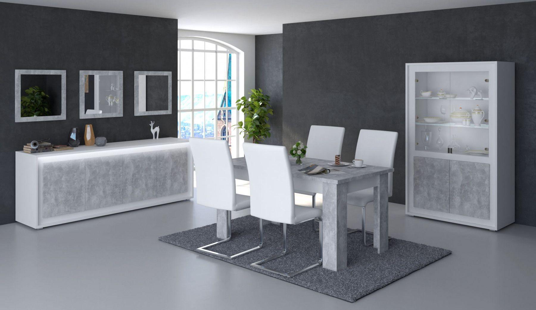 salle manger complte table 180 cm neon blanche et grise effet bton
