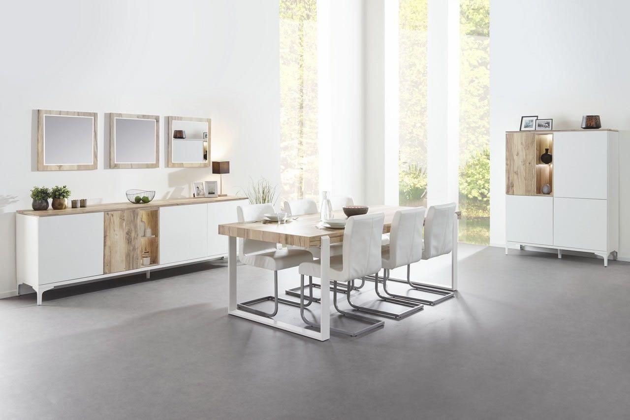 Made In Belgium Salle A Manger Scandinave Table 180 Cm Bois Naturel Et Pieds En Metal Blanc Vorane