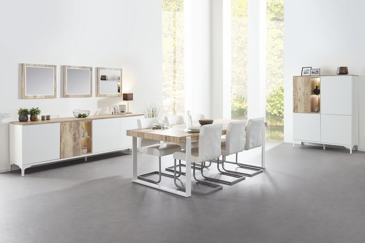 Made in Belgium Salle à manger scandinave table 225 cm blanc et bois  naturel Vorane