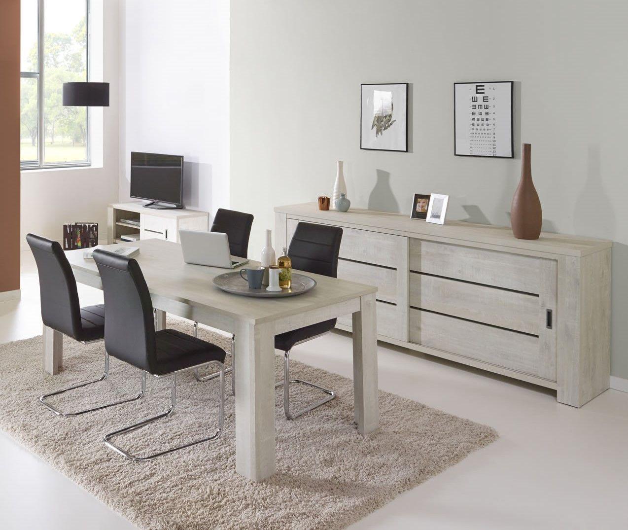 salle manger ch ne blanchi drancy vaisselier table et bahut. Black Bedroom Furniture Sets. Home Design Ideas