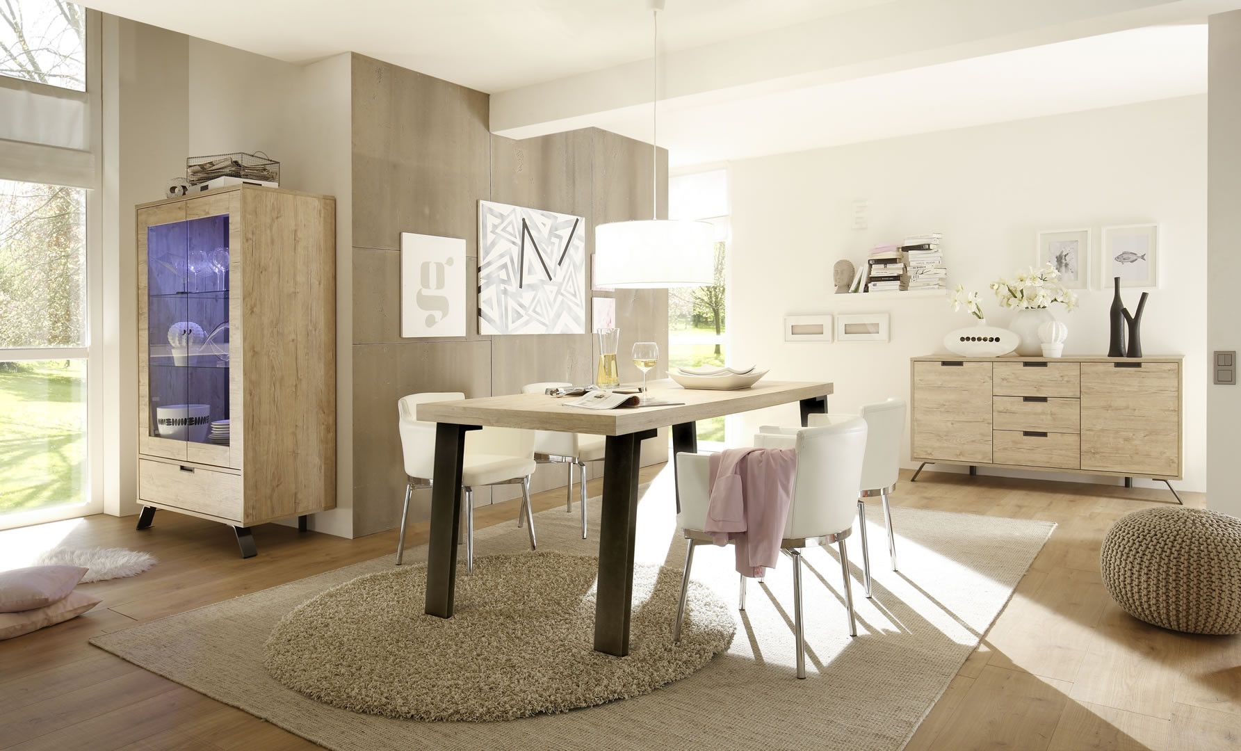 Made In Italy Salle A Manger Complete Style Scandinave Avec Eclairage Bois Et Metal Malpa