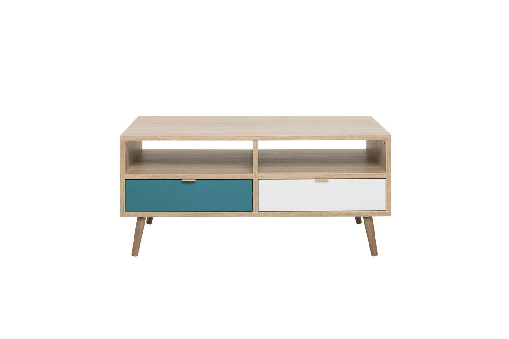 Table basse 2 tiroirs style scandinave anave - Table basse style scandinave ...