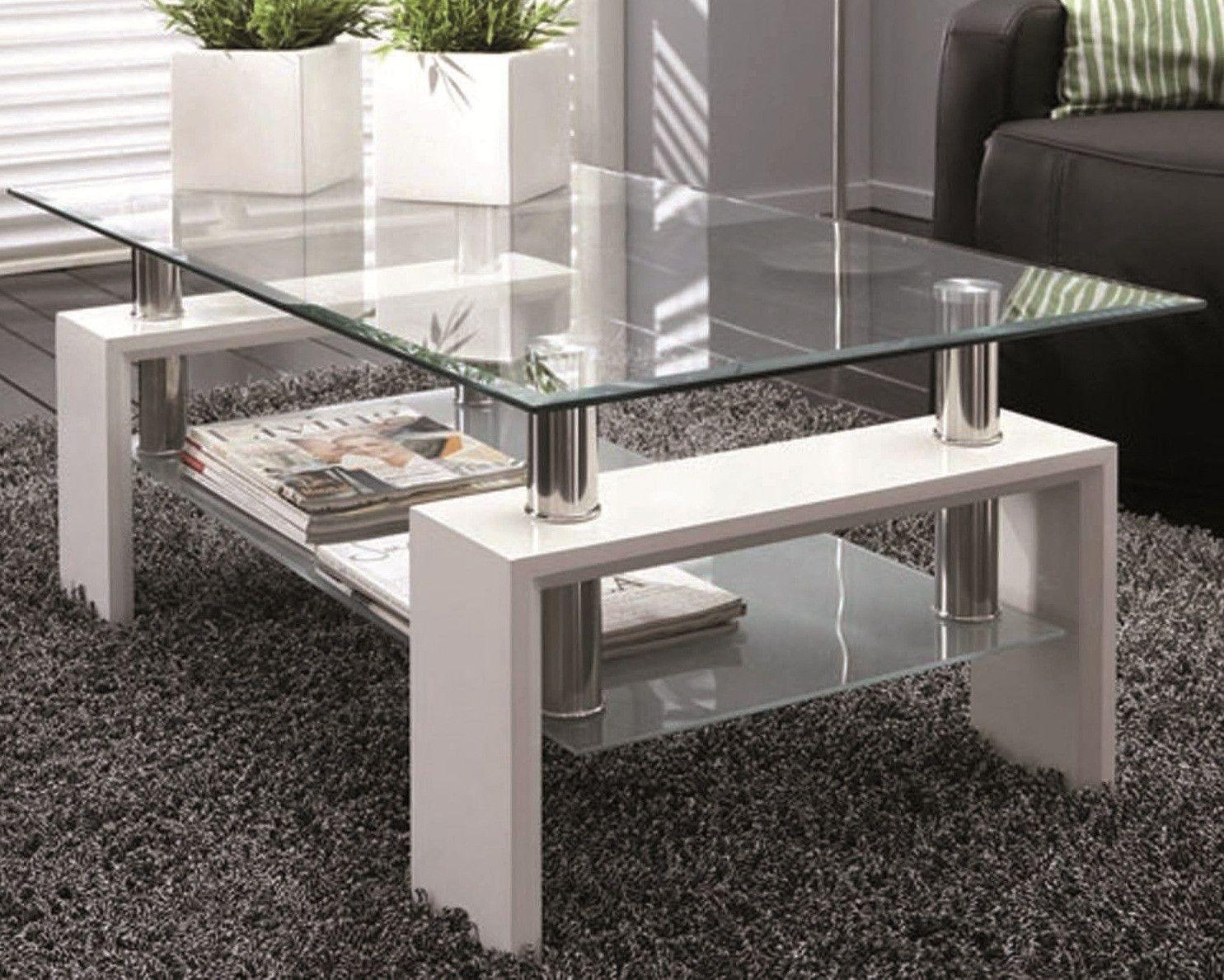 Table basse en verre Burgos blanc laqué