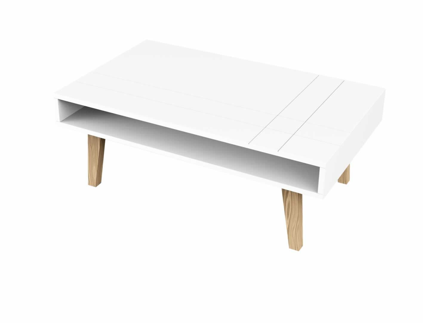 Tables Basses Table Basse Style Scandinave Blanc Pieds Bois