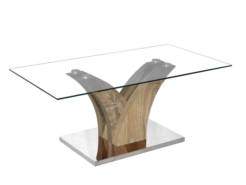 tables basses table basse design en verre pied bois verga ch ne vieilli trocity