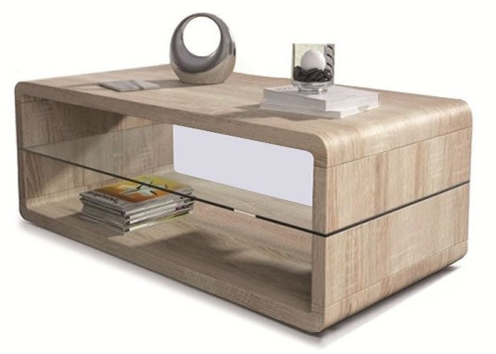 Table basse design bords arrondis Huelva chêne clair