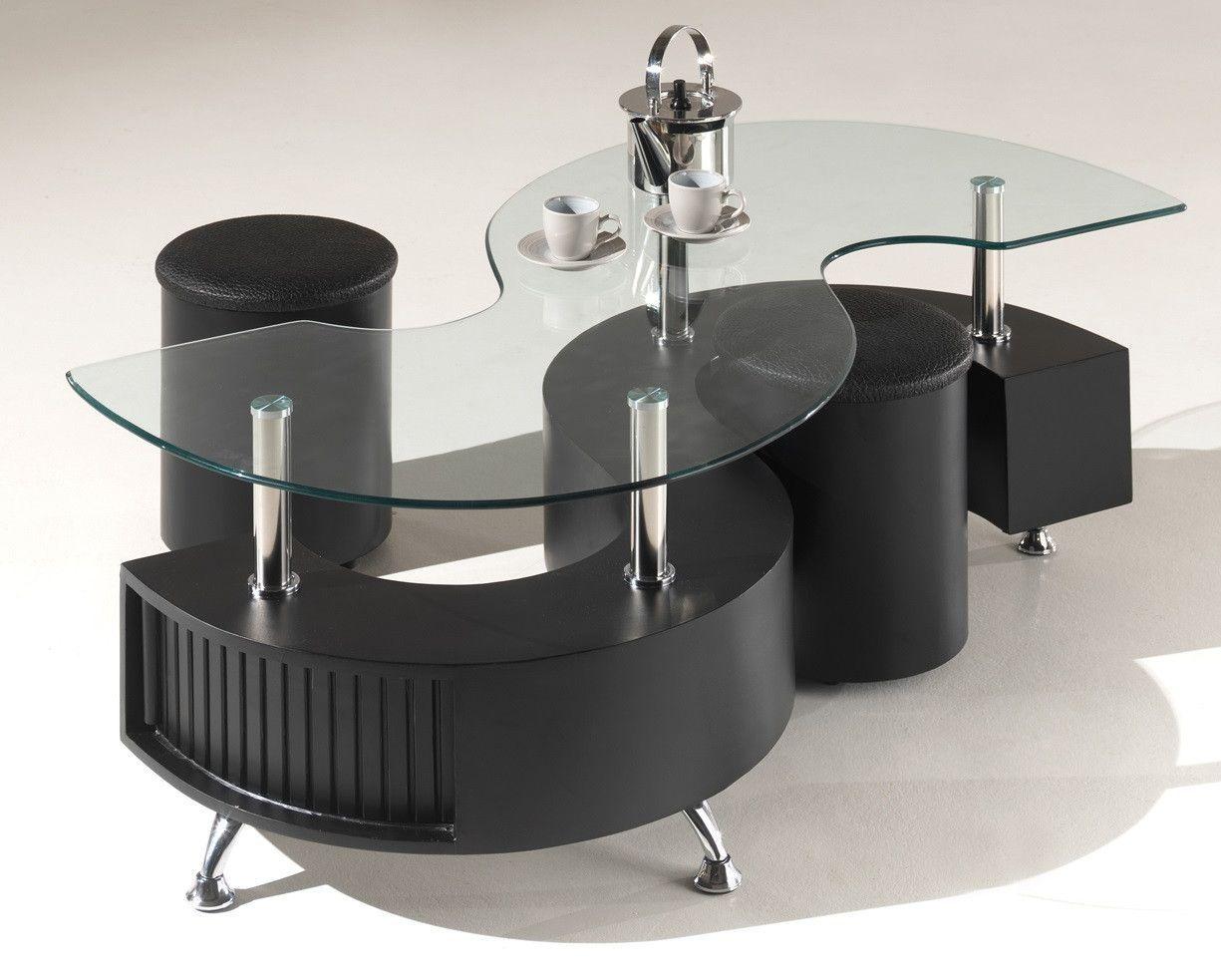 Basse Verre Avec 2 Poufs Table Noir Forme Rubio En S BWeCrxod